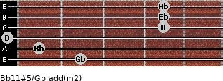 Bb11#5/Gb add(m2) guitar chord