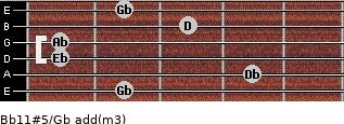 Bb11#5/Gb add(m3) for guitar on frets 2, 4, 1, 1, 3, 2