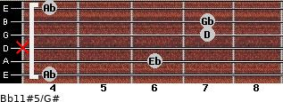 Bb11#5/G# for guitar on frets 4, 6, x, 7, 7, 4
