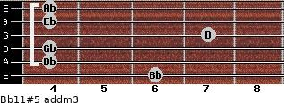 Bb11#5 add(m3) guitar chord