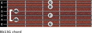 Bb13/G for guitar on frets 3, 1, 3, 1, 3, 3