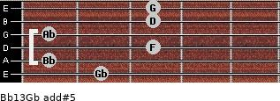 Bb13/Gb add(#5) guitar chord