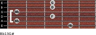 Bb13/G# for guitar on frets 4, 1, 3, 1, 3, 3