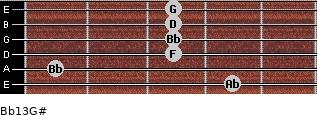 Bb13/G# for guitar on frets 4, 1, 3, 3, 3, 3
