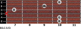 Bb13/D for guitar on frets 10, 10, x, 7, 9, 10