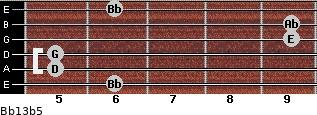 Bb13b5 for guitar on frets 6, 5, 5, 9, 9, 6