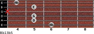 Bb13b5 for guitar on frets 6, 5, 5, x, 5, 4
