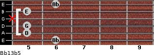 Bb13b5 for guitar on frets 6, 5, 5, x, 5, 6