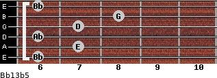 Bb13b5 for guitar on frets 6, 7, 6, 7, 8, 6