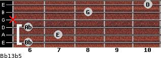Bb13b5 for guitar on frets 6, 7, 6, x, 8, 10
