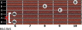 Bb13b5 for guitar on frets 6, x, 6, 9, 8, 10
