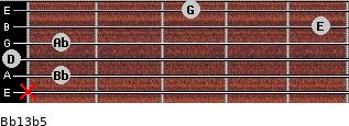 Bb13b5 for guitar on frets x, 1, 0, 1, 5, 3