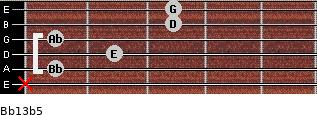 Bb13b5 for guitar on frets x, 1, 2, 1, 3, 3