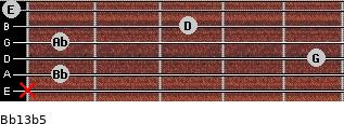 Bb13b5 for guitar on frets x, 1, 5, 1, 3, 0