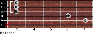 Bb13b5/E for guitar on frets x, 7, 6, 3, 3, 3