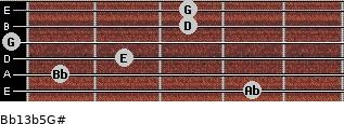 Bb13b5/G# for guitar on frets 4, 1, 2, 0, 3, 3