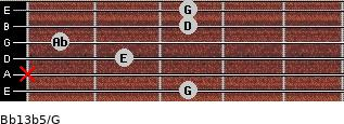 Bb13b5/G for guitar on frets 3, x, 2, 1, 3, 3