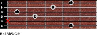 Bb13b5/G# for guitar on frets 4, x, 2, 1, 3, 4