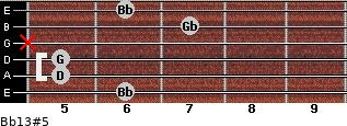 Bb13#5 for guitar on frets 6, 5, 5, x, 7, 6