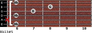 Bb13#5 for guitar on frets 6, x, 6, 7, 8, 6