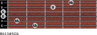 Bb13#5/Gb for guitar on frets 2, 1, 0, 0, 3, 4