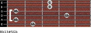 Bb13#5/Gb for guitar on frets 2, 1, 4, 1, 3, 3