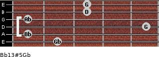 Bb13#5/Gb for guitar on frets 2, 1, 5, 1, 3, 3
