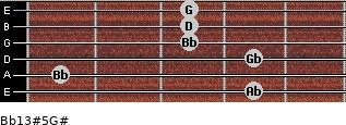 Bb13#5/G# for guitar on frets 4, 1, 4, 3, 3, 3