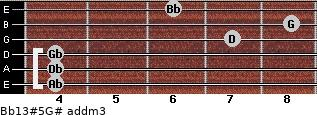 Bb13#5/G# add(m3) for guitar on frets 4, 4, 4, 7, 8, 6