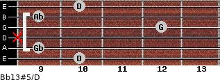 Bb13#5/D for guitar on frets 10, 9, x, 12, 9, 10