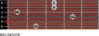 Bb13#5/F# for guitar on frets 2, x, 4, 1, 3, 3