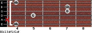 Bb13#5/G# for guitar on frets 4, x, 5, 7, 7, 4