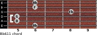 Bb6/11 for guitar on frets 6, 5, 5, 8, 6, 6