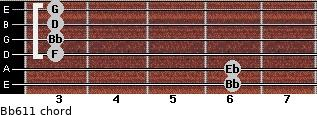 Bb6/11 for guitar on frets 6, 6, 3, 3, 3, 3