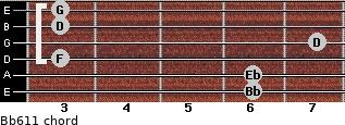 Bb6/11 for guitar on frets 6, 6, 3, 7, 3, 3