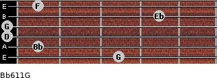 Bb6/11/G for guitar on frets 3, 1, 0, 0, 4, 1