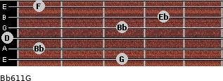Bb6/11/G for guitar on frets 3, 1, 0, 3, 4, 1