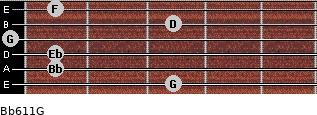 Bb6/11/G for guitar on frets 3, 1, 1, 0, 3, 1