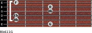 Bb6/11/G for guitar on frets 3, 1, 1, 3, 3, 1