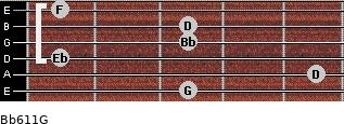 Bb6/11/G for guitar on frets 3, 5, 1, 3, 3, 1