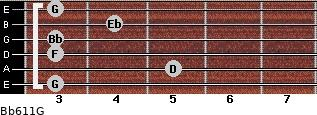Bb6/11/G for guitar on frets 3, 5, 3, 3, 4, 3