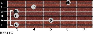 Bb6/11/G for guitar on frets 3, 5, 3, 3, 4, 6