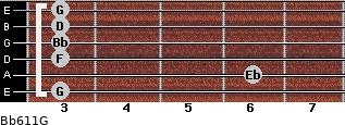 Bb6/11/G for guitar on frets 3, 6, 3, 3, 3, 3