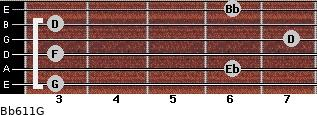 Bb6/11/G for guitar on frets 3, 6, 3, 7, 3, 6