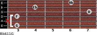 Bb6/11/G for guitar on frets 3, x, 3, 7, 4, 6