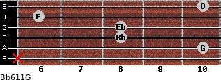 Bb6/11/G for guitar on frets x, 10, 8, 8, 6, 10
