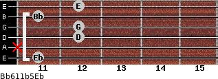 Bb6/11b5/Eb for guitar on frets 11, x, 12, 12, 11, 12