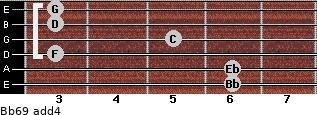 Bb6/9 add(4) guitar chord