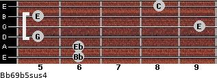 Bb6/9b5sus4 for guitar on frets 6, 6, 5, 9, 5, 8