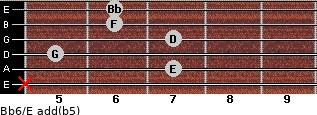 Bb6/E add(b5) for guitar on frets x, 7, 5, 7, 6, 6
